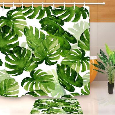 "72X72/"" Green Leaves  Shower Curtain Set Waterproof Fabric Bathroom Decor Mat Rug"