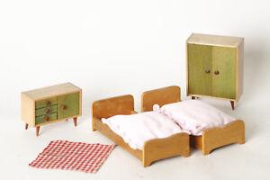 Chambre à Coucher : 2 Lits Armoire / Garde-Robe Commode Années 50 ...