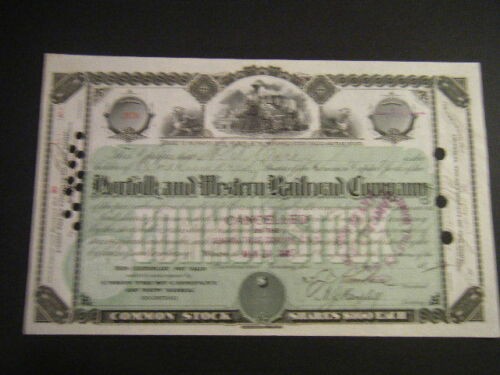NORFOLK /& WESTERN RAILWAY 1880s Green /& Black w// Winged Griffins signed Kimball