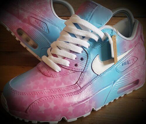 Nike Air Max 90/Pintado Personalizado/Rosa-Blanco/Ultra/Essential/id/Force 1/Huarache Pink Blended Stars