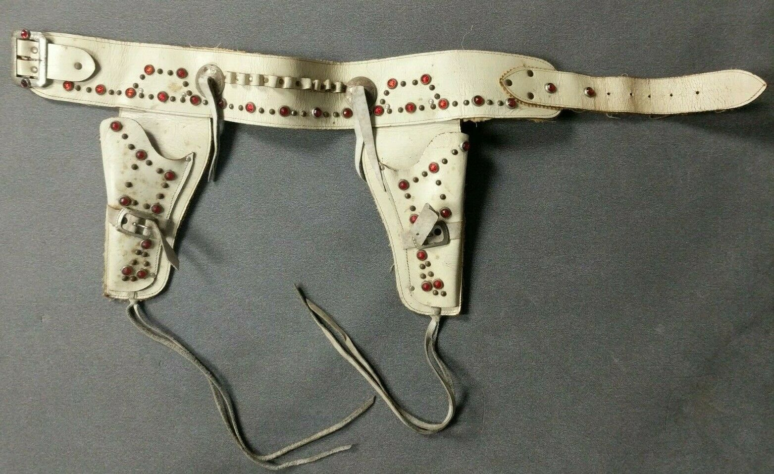 Vintage Western Style White Jeweled Embellished Embellished Embellished Toy Cap Gun Holster Lot C4-17 dca