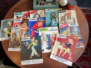 Colliers-Magazine-lot-x-12-WW-II-1942-45-era-great-ads-cover-art