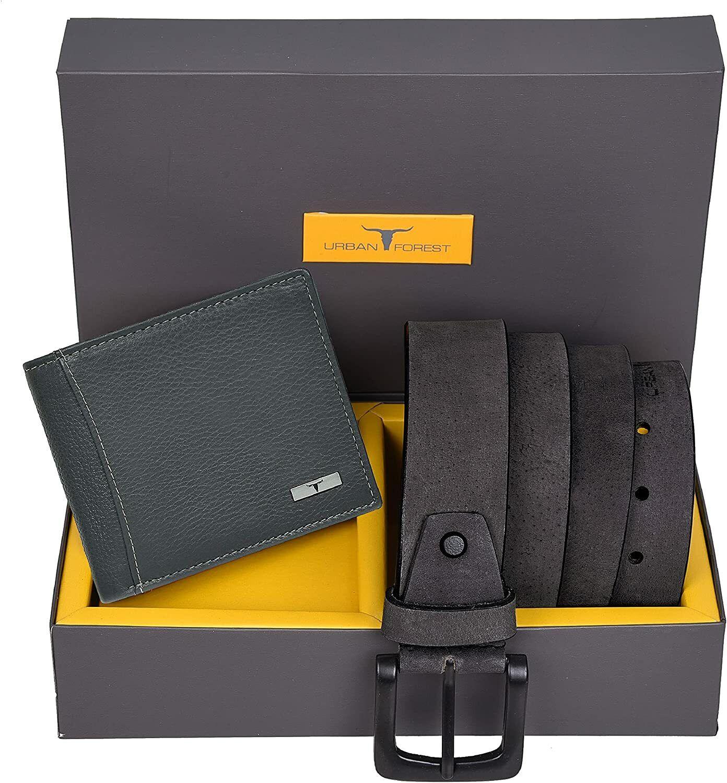 Wallet RFID Blocking & Belt Combo Gift Set for Men Casual Grey Leather