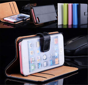 iPod-Touch-6-6th-5-Generation-Genuine-Leather-Wallet-Flip-Case-Cover-Card-Holder