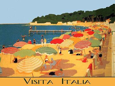 Italy Italia Beach Umbrellas Travel Tourism Vacation Vintage Poster FREE S//H
