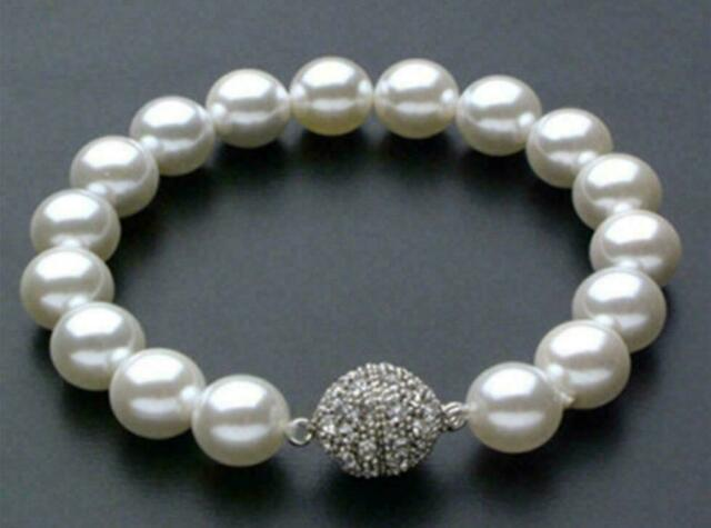 "New 8/10/12mm AAA White South Sea Shell Pearl Bracelet 7.5"" Magnet Clasp"