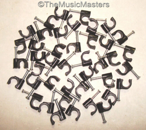 200X Black Coaxial Cable Nail Wall WIRE CLIPS RG59U Alarm Speaker Ethernet Phone