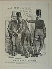 """7x10"""" punch cartoon 1859 THE OLD REAL REFORMER election bribery / brougham"""