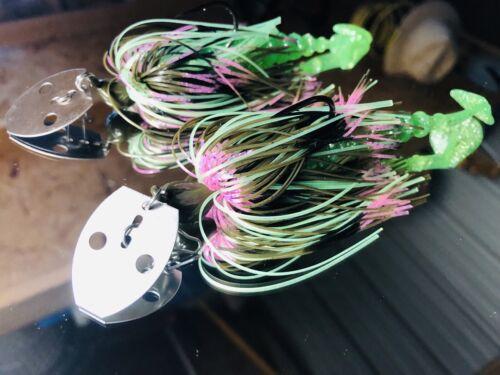 2 Custom Bass Bladed vibrating Chatter-Bait Swim Jigs Coppernose Bluegill 1//2 oz