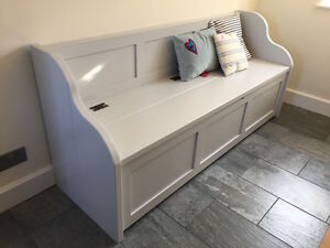 5ft rustic style window seat bench settle pew with storage made to any size ebay - Made to measure bench seating ...