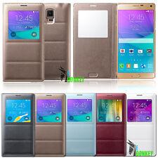 Custodia Flip cover S VIEW Pelle Per Samsung Galaxy Note 4 SM-N910F + Pellicola