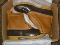 Ll Bean Mens 8 Leather Duck Boots Beige Tan/brown Sz 9 Fits Sz 10 Wide