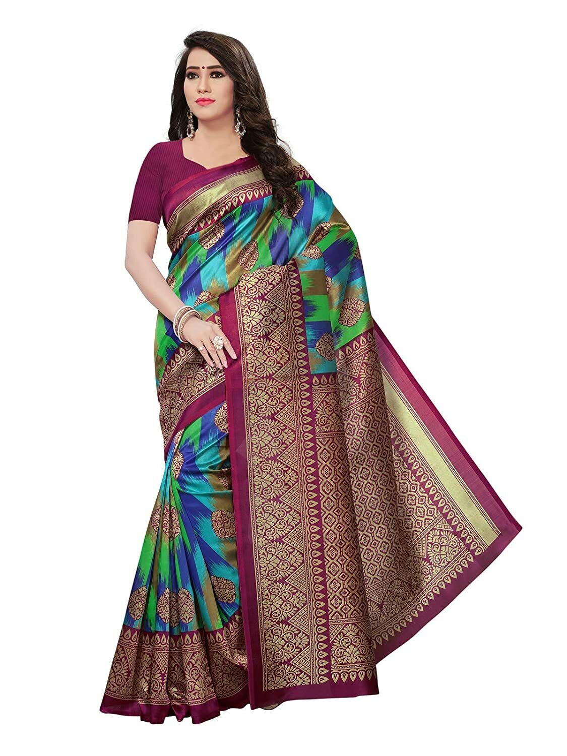 Women's Poly Silk Saree With Unstitched Blouse