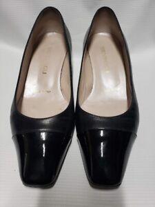 Bruno-Magli-Vero-Cuoio-Black-Pump-Patent-Leather-Toe-Size-36-1-2-Free-Shipping