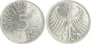 5 DM J.387 Silver Currency Coin 1957 J Mint State