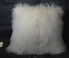 "Real Mongolian lamb Natural white 18 x 18"" Fur Pillow made in usa Tibet cushion"