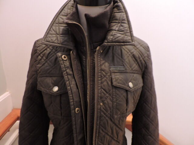 Michael By Micheal Kors Quilted Field Jacket Two Tone Bib Inset Coat