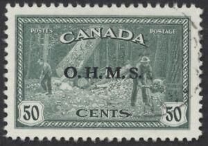 Canada-O9-50c-Lumbering-OHMS-Overprint-XF-Used