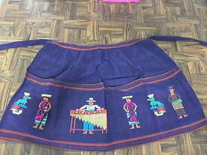 Vintage Handmade Purple Embroidered Guatemalan 1/2 APRON