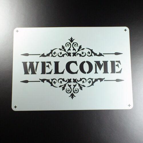 A3 Schablone Welcome Schriftzug Ornament BO391