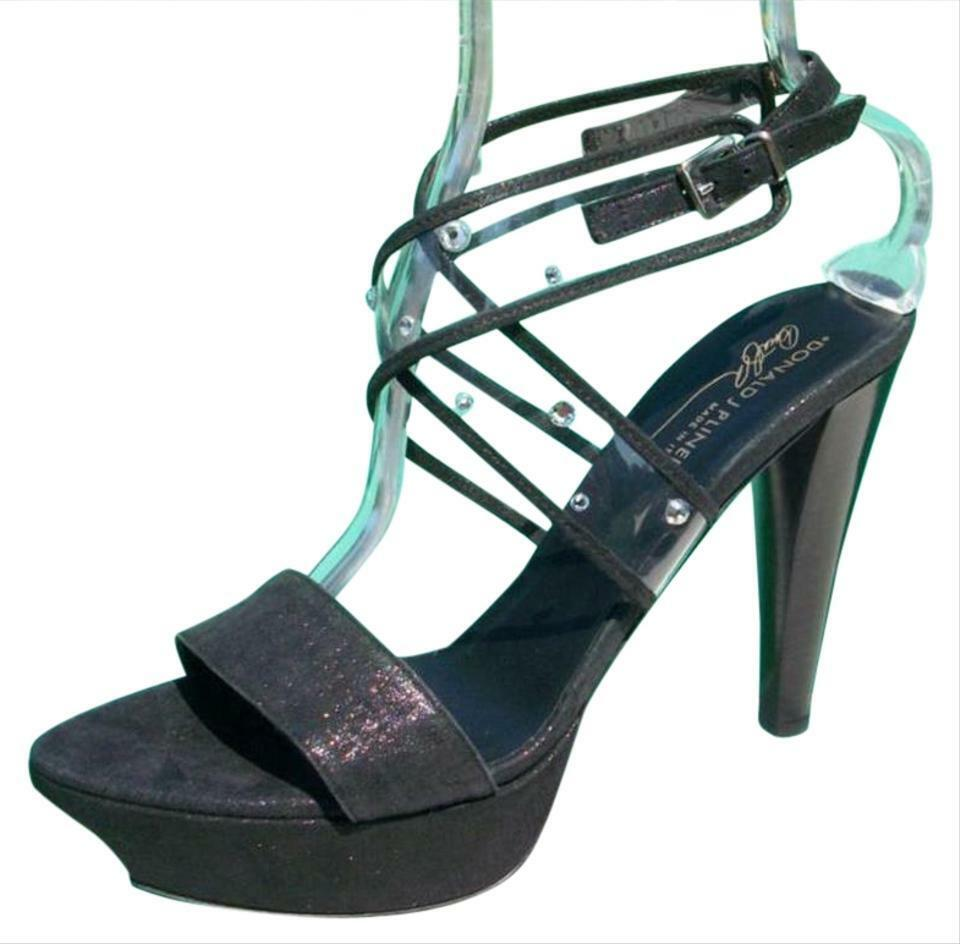 Donald Pliner Couture Leather Platform shoes New Swarovski Crystals  395 NIB