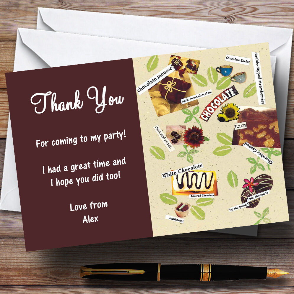 Delicious Chocolate Personalised Party Thank You Cards