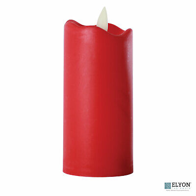 LED Flameless Tall Pillar Flicker Candles, 12 Pack, Red ...
