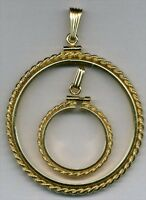 U.s. Nickel Size Rope Style Gold Filled Coin Bezel Frame With Bail Gfcr-5