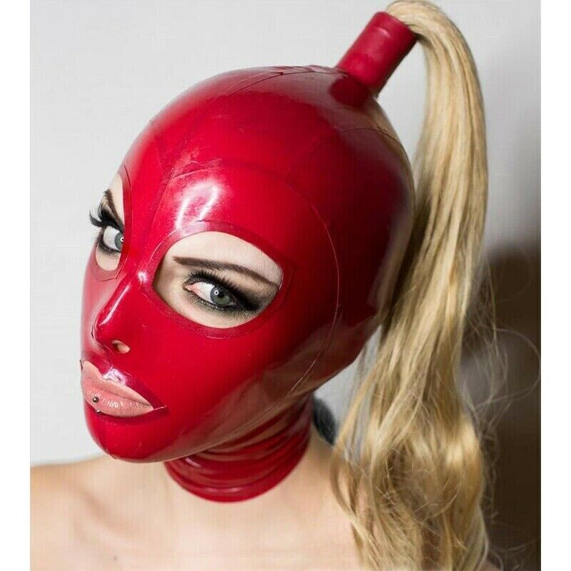 Men Black 3D Latex Mask with Red Teetch Nasal Tube 1.0mm Anatomical Rubber Hood