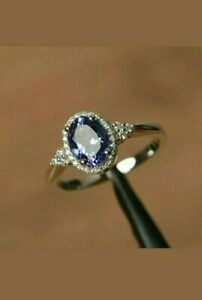 3-35-Ct-Oval-Cut-Blue-Sapphire-Diamond-Halo-Engagement-Ring-14K-White-Gold-Over