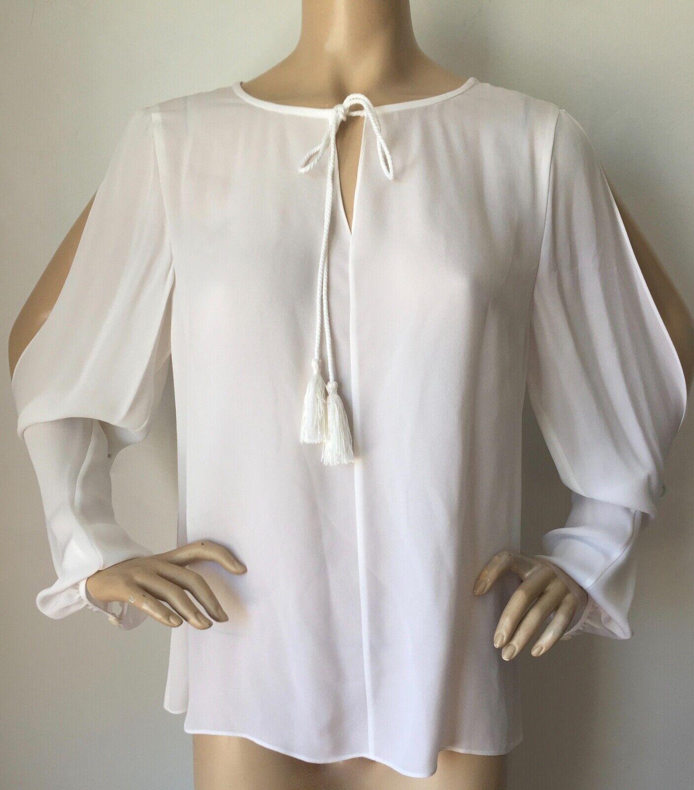 NWT St John Knit Größe L Silk Blouse Bright Weiß