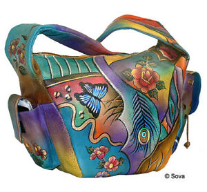 Image Is Loading Sova Hand Painted Leather Hobo Bag