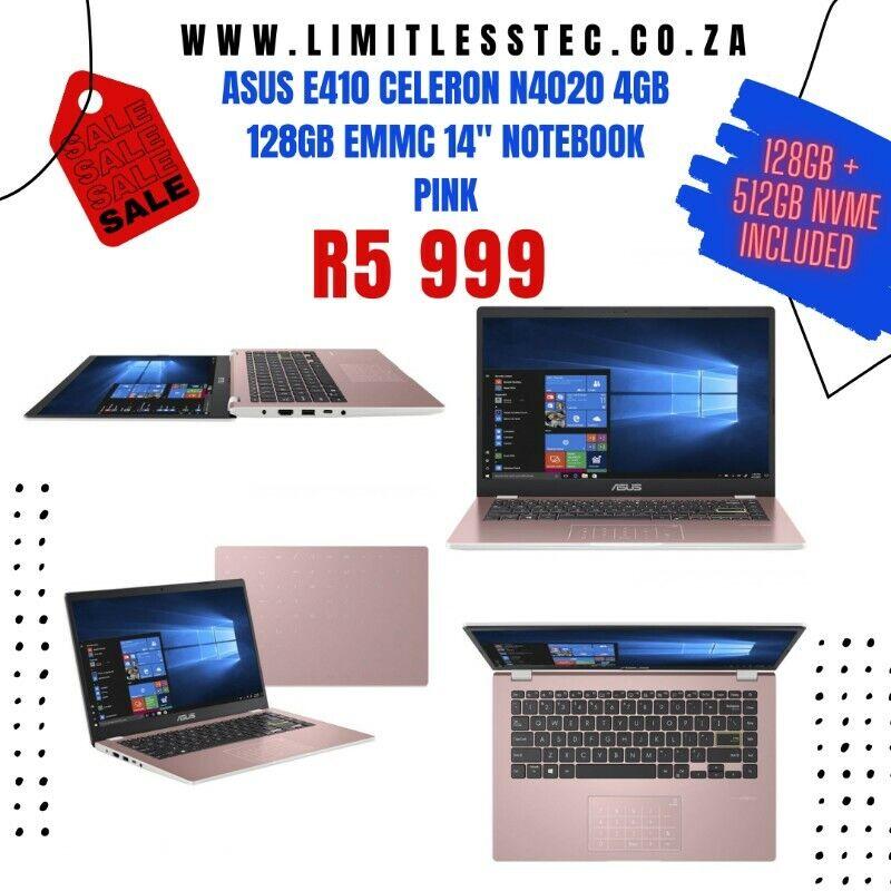 ASUS E410 Celeron N4020 4GB 128GB eMMC 14 Notebook Pink