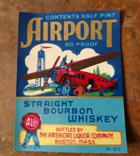 AIRPORT Half Pint Size WHISKEY LABEL OLD LITHOGRAPH 1930/'s Airplane Airlines