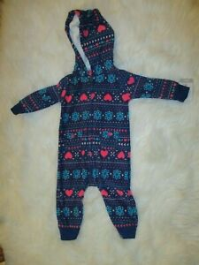 Carter-039-s-Baby-Girls-Navy-Blue-Soft-Fleece-Hooded-One-Piece-Outfit-Size-6-Mo-NWT