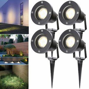 4X-LED-Gartenstrahler-Strahler-Aussenstraher-GU10-Bodenleuchte-Spiessstrahler-IP65