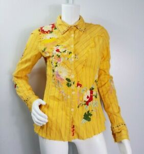 Johnny-Was-3J-Workshop-Top-Size-Small-Yellow-Striped-Floral-Embroidered-Buttons