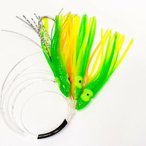 Daisy-Chain-Mahi-Tuna-Trolling-Lure-Squid-Fishing-80lb-Leader-Offshore-Saltwater