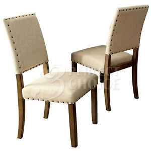 Melston Set of 2 Dining Side Chairs Fabric w/ Nailhead Trim Wood in Natural NEW