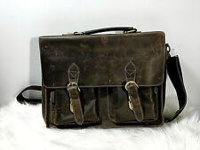 """/""""Calgary 3/"""" Men/'s Rough Distressed Leather Briefcase Rust Brown"""
