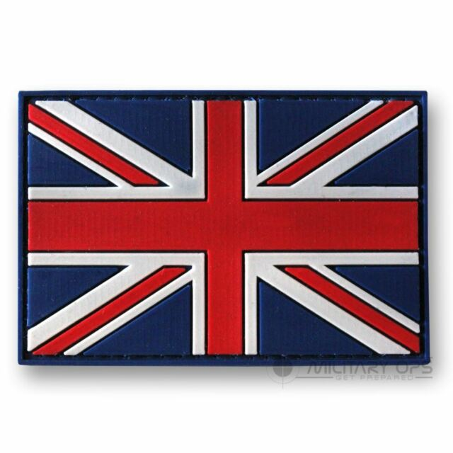 VINYL MORALE PATCH VELCRO PANEL RUBBER 'UNION FLAG JACK' COLOUR RED WHITE BLUE