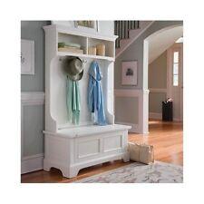 Wood Hall Tree Storage Bench Entryway Coat Rack Hooks Shelves White  Furniture