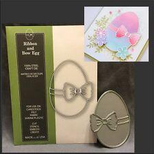 RIBBON & BOW EGG metal cutting die 1156 Poppystamps Dies - Easter,food,ribbon