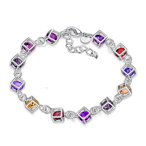 Women-Jewelry-Bangle-Chain-925-Silver-Plated-Crystal-Beads-Cuff-Charm-Bracelet