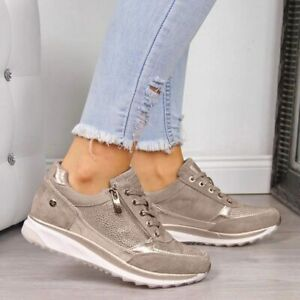 Women's Wedges Sneakers Vulcanize Shoes Sequins Girls Sport Shoes Footwear