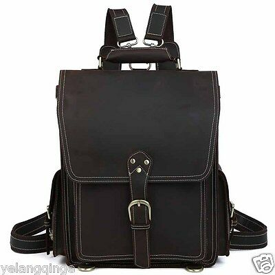 "Hiking Thick Bull Leather Men Briefcase 17"" Laptop Backpack Messenger Travel Bag"