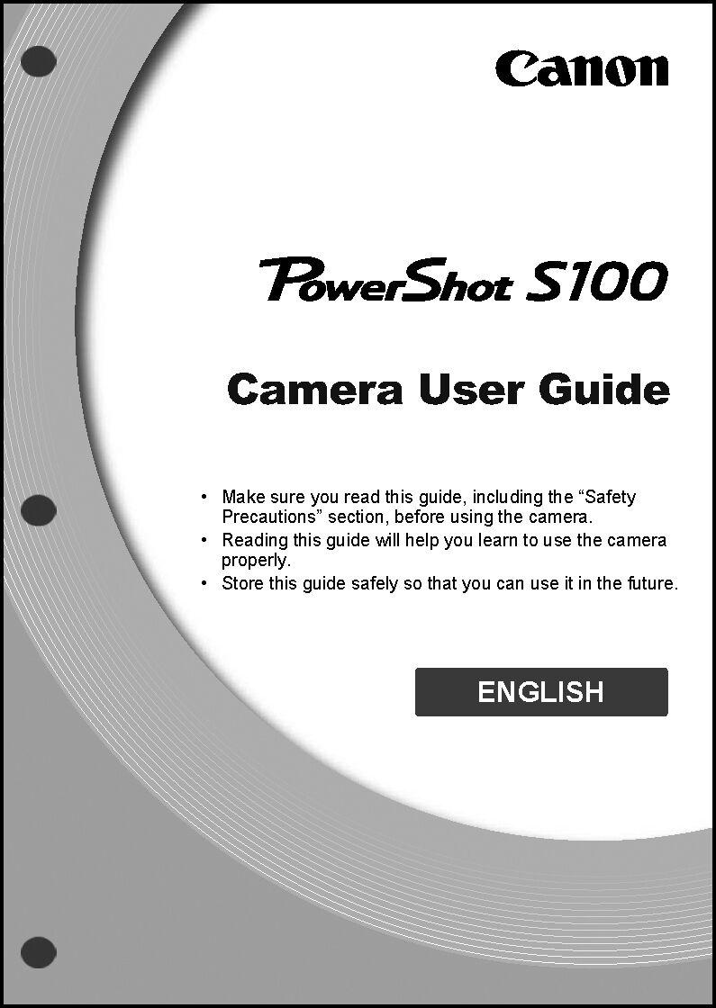 canon powershot s100 digital camera user guide instruction manual ebay rh ebay com canon s100 manual pdf download Canon S105