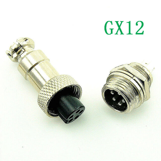 Aviation Plug GX12-5 5pin 12mm (1 Male & 1 Female) panel Metal Connector