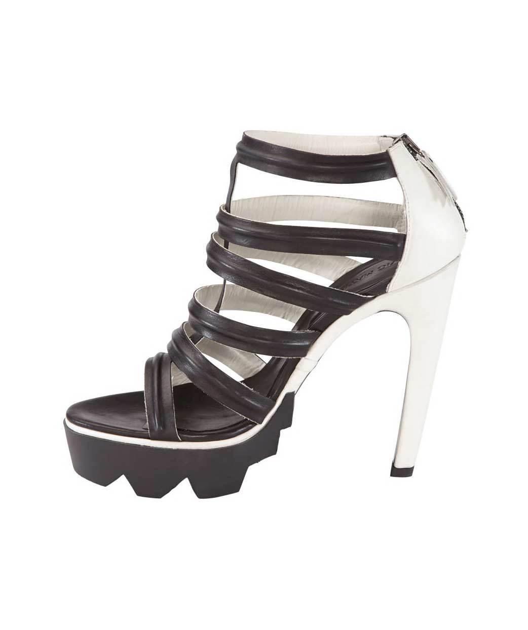 Vic Matie Designer-Sandalette aus schwarz-weißem Leder