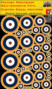 Strict Raf Cocarde Pack Mixte Vinyle Autocollant Décalques Type A : 2 Roundel 5mm -